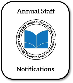 Graphic with MUSD logo and the words Annual Staff Notifications- clicking the icon will take the user to the MUSD Annual staff notifications page
