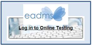 EADMS logo- clicking the logo will take students to the EADMS online testing portal