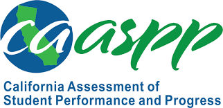 CAASPP Logo- clicking the logo will take the end user to the CAASPP student practice and training test page