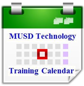 MUSD Technology Training Calendar graphic with a link to the MUSD Technology Training Calendar