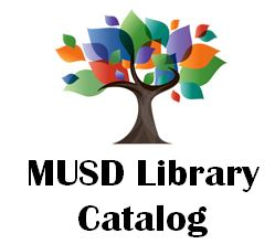 MUSD Library Catalog logo- clicking the logo will take parents to the MUSD library catalog webpage