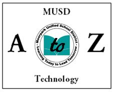 MUSD Technoloy A-Z graphic that contains a link to the MUSD Technology A to Z database